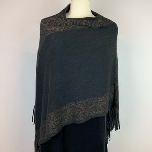Sweaters - Fringed Black Gold Trimmed Super Soft Poncho
